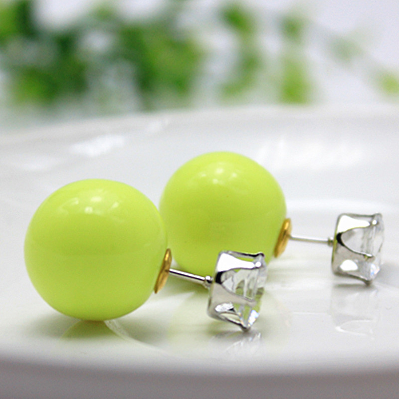 2015 new fashion brand jewery elegant double pearl stud earrings for women cute opal beads ball earrings for Christmas gifts(China (Mainland))