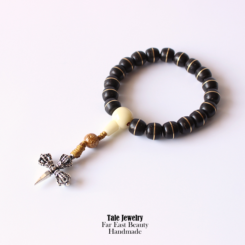 Tibetan Buddhism Prayer Natural Coconut shell Beads S925 Silver Cross Antique Charm Stretch Bracelet Men Women Handmade Jewelry(China (Mainland))