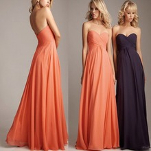 Plus Size Coral Long Chiffon Bridesmaid Dresses