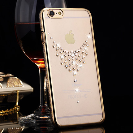 Swarovski mobile phone case for iphone 6 New Fashion lovely heart back cover PVC with diamond crystal cases for iphone 6 plus(China (Mainland))