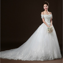 long train luxury wedding gowns 2016 lace bandage sexy wedding dress boat neck pregnant woman plus size wedding dresses WED90013(China (Mainland))