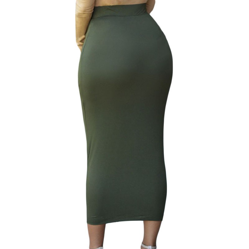 Solid-Green-High-waisted-Bodycon-Maxi-Skirt-LC71188-3-2