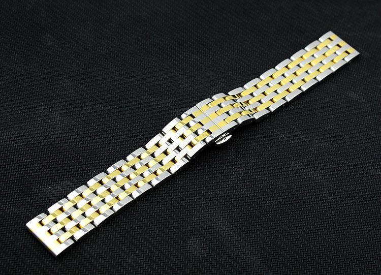 Полированного Золота, Ремешок Из Нержавеющей стали 20 ММ 22 мм Браслеты ремень Твердые ссылки бабочка застежка Мода Часы группа Аксессуары