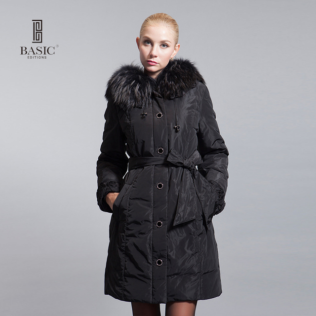 BASIC-EDITIONS 2014-2015 winter Slim Hooded fur collar fur cuffs flowers in long down jacket style - 10W-04D