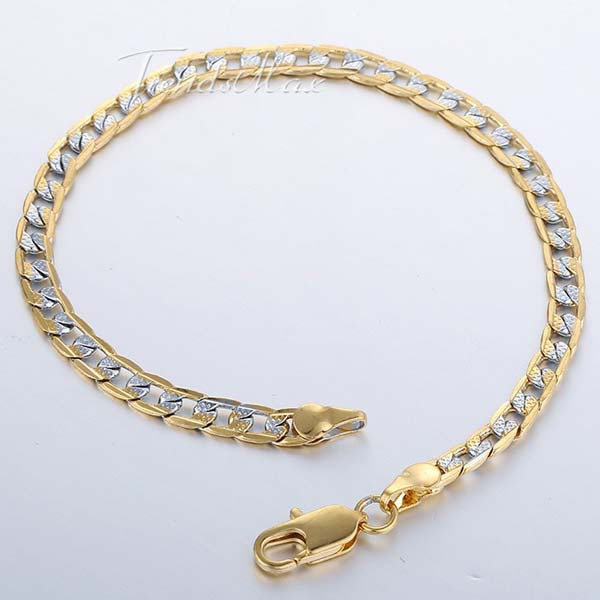 4mm Rose Silver Gold Filled Bracelet Small Curb Cuban Hammered Link Chain Bracelet Mens Womens Chain