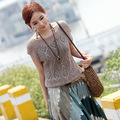 Spring summer new sleeve blouse collar bat sleeve loose openwork knit sweater coat female hook flower