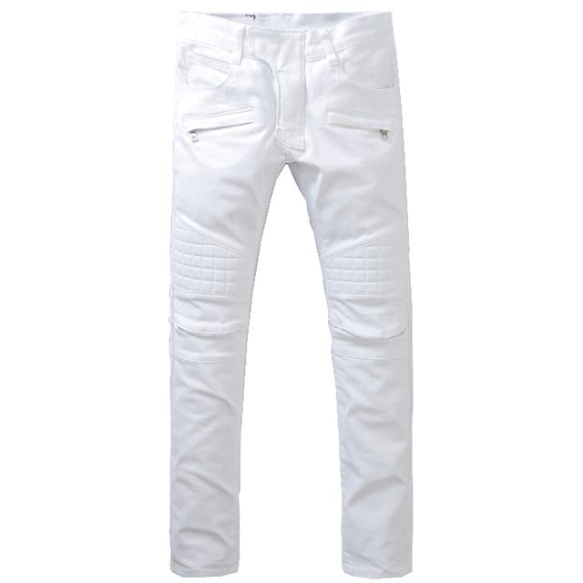 Мужская тонкий чистый белый большой размер байкер джинсы Мода повседневная лоскутная ...