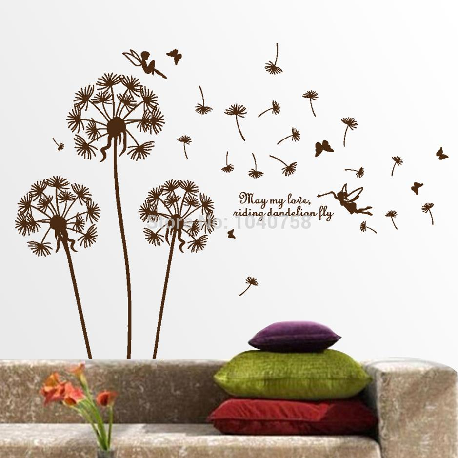 Buy removable pvc dandelion wall stickers - Wall stickers for living room ...