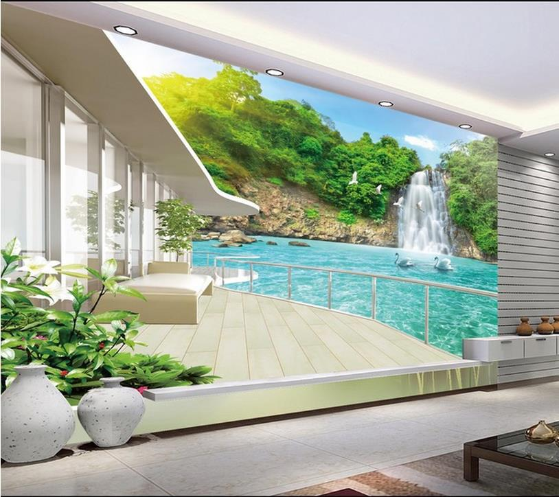 Modern wall 3d murals wallpaper beautiful waterfall for Mural 3d wallpaper