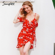 Buy Simplee Cold shoulder ruffle print summer dress women High waist strap chiffon beach dress Boho party sexy dresses for $16.49 in AliExpress store