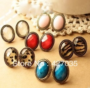 Fashion accessories sexy small vintage stud earring oval leopard print small stud Earring