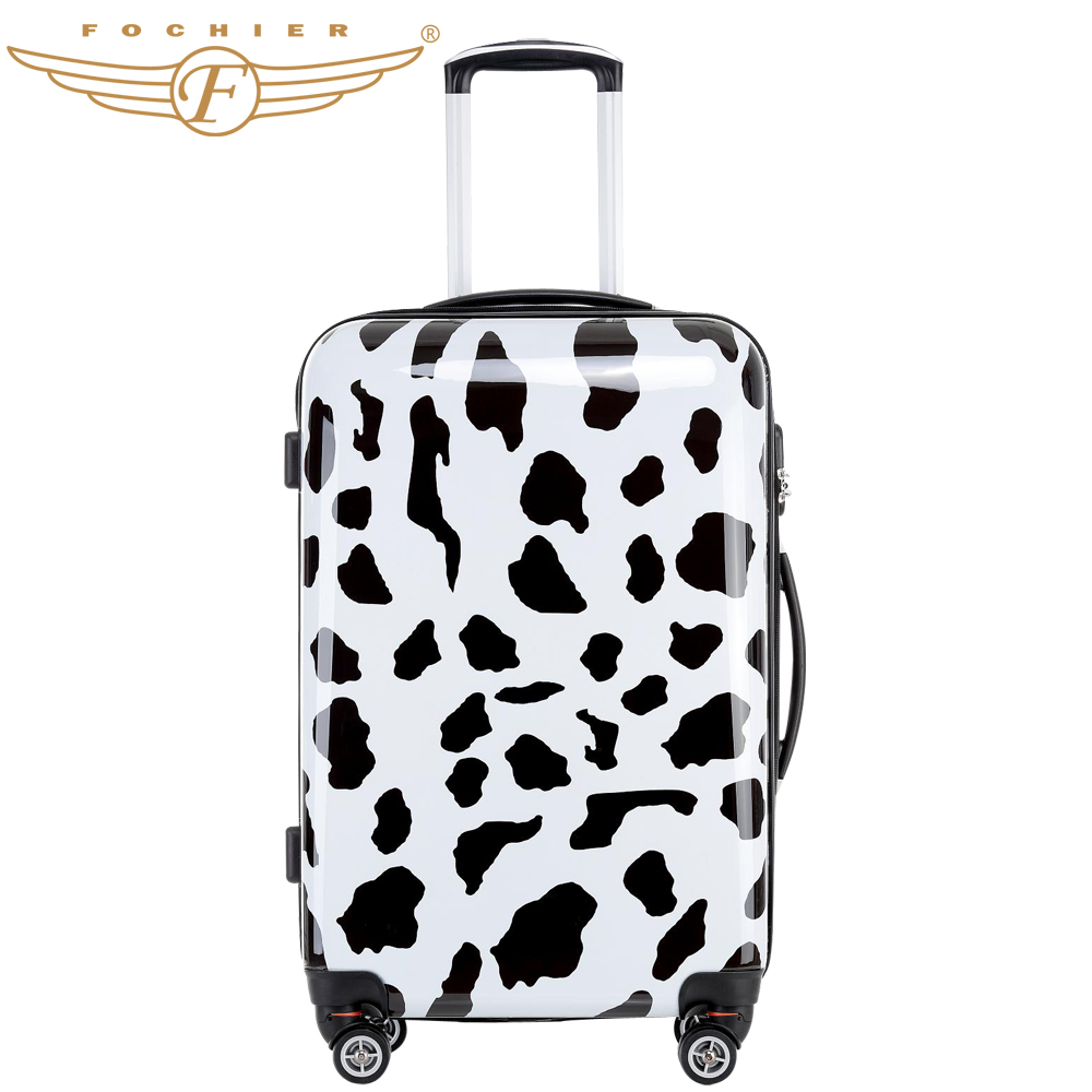 Cow print spinner wheels hard shell trolley travel luggage