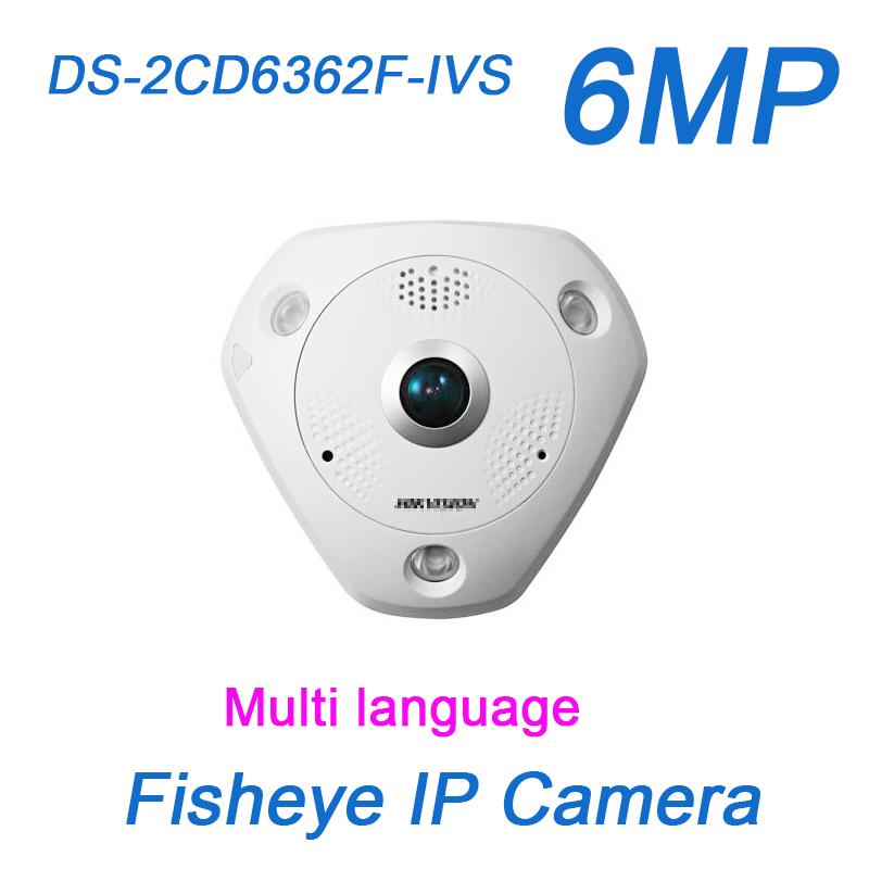 6MP fisheye IP Camera DS-2CD6362F-IVS ePTZ 360 Panoramic IR PoE Built-in microphone speaker security CCTV Surveillance Camera(China (Mainland))