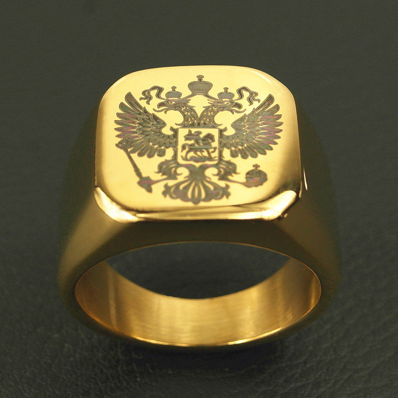 Polished Stainless Steel ring Band Biker Men's ring a coat of arms of the Russian Signet Ring for men(China (Mainland))