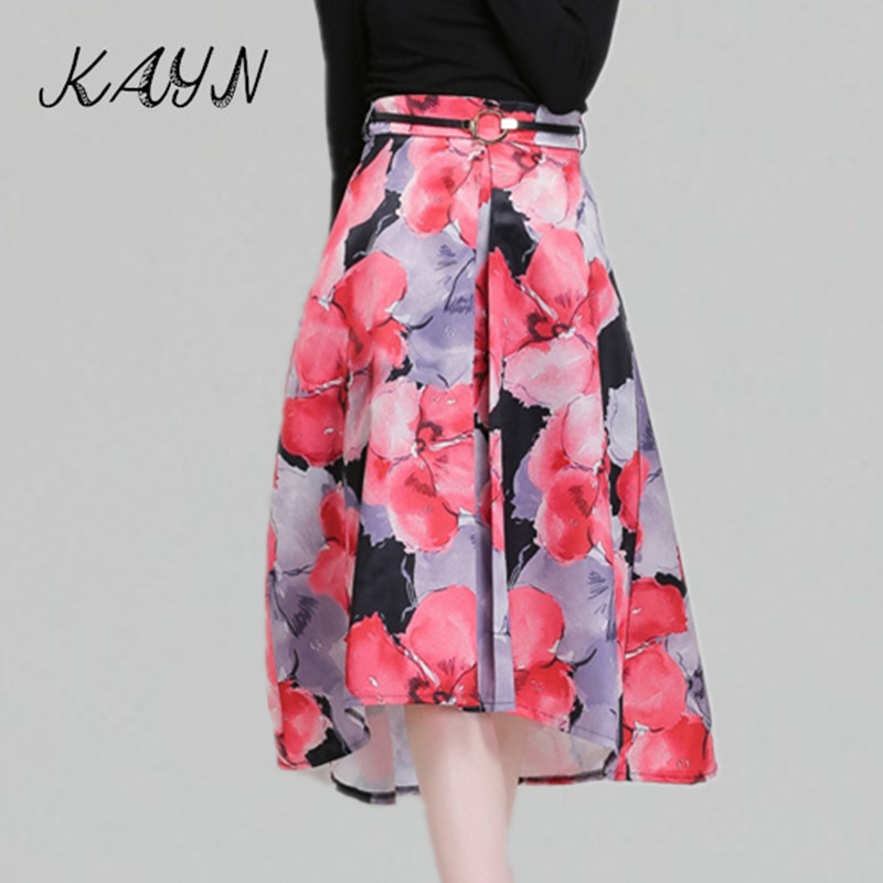2016 Spring Summer Skirts Womens Brand Fashion Floral Empire Knee Length Line High Low Skirt Tutu Saia Midi - KAYN Boutique Women Clothing store