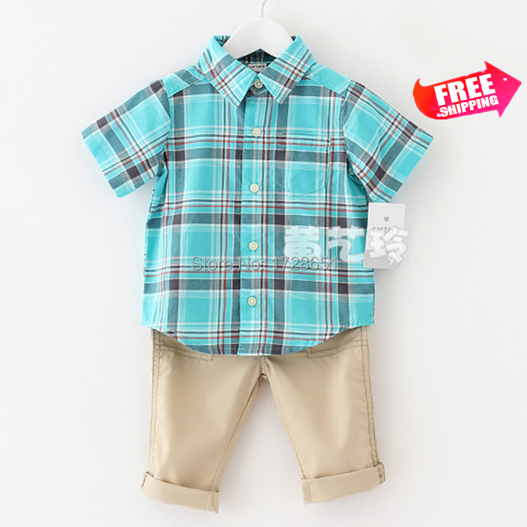 2015 Free Ship Spring Children Cartoon Clothing Sets Baby's Boys Girls Carter Plaid Shirt+ Pants Suit Fashion Kids Coat Clothes(China (Mainland))