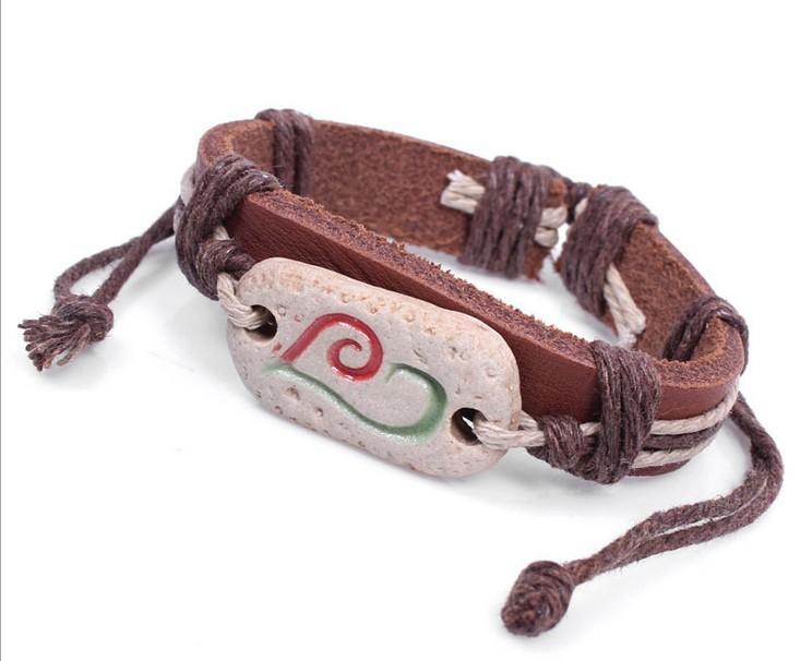 Ethnic jewelry bracelet heart-shaped earthenware pottery bone jewelry leather bracelet LB073<br><br>Aliexpress