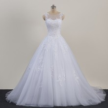 Original Photo Lace Plus Size Wedding Dresses 2016 Sale Cheap Sheer Neck Lace up Tulle Long Vestido De Noiva China Bridal Gowns(China (Mainland))