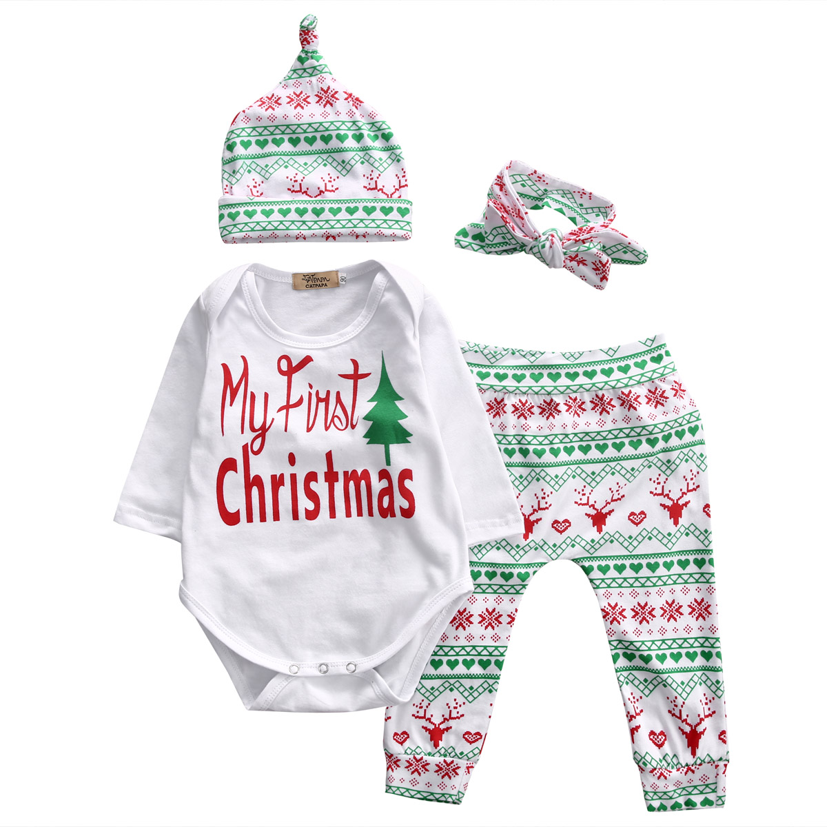 Pcs newborn kids baby girl boy letter christmas outfit set infant