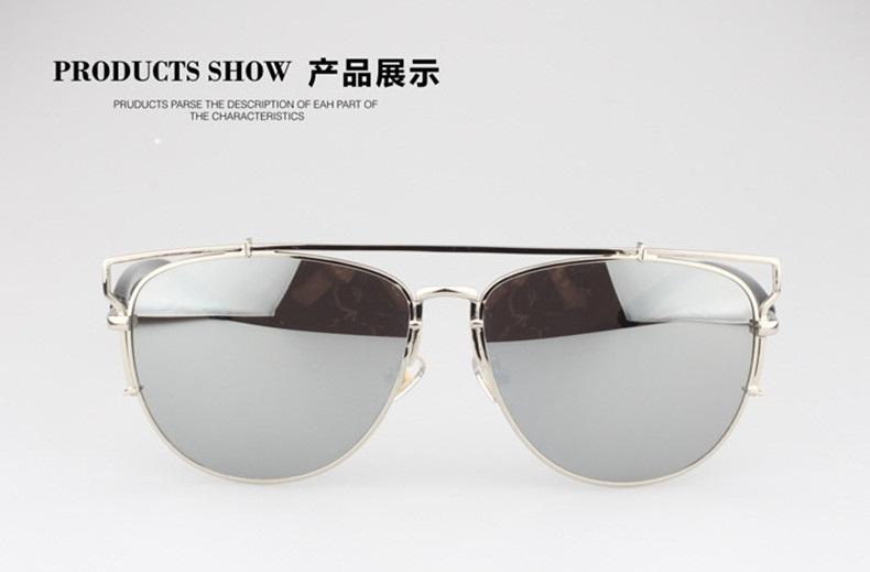 2015 new summer style technologic reflective metal frame luxury brand sunglasses women brand designer Retro vintage sun glasses(China (Mainland))