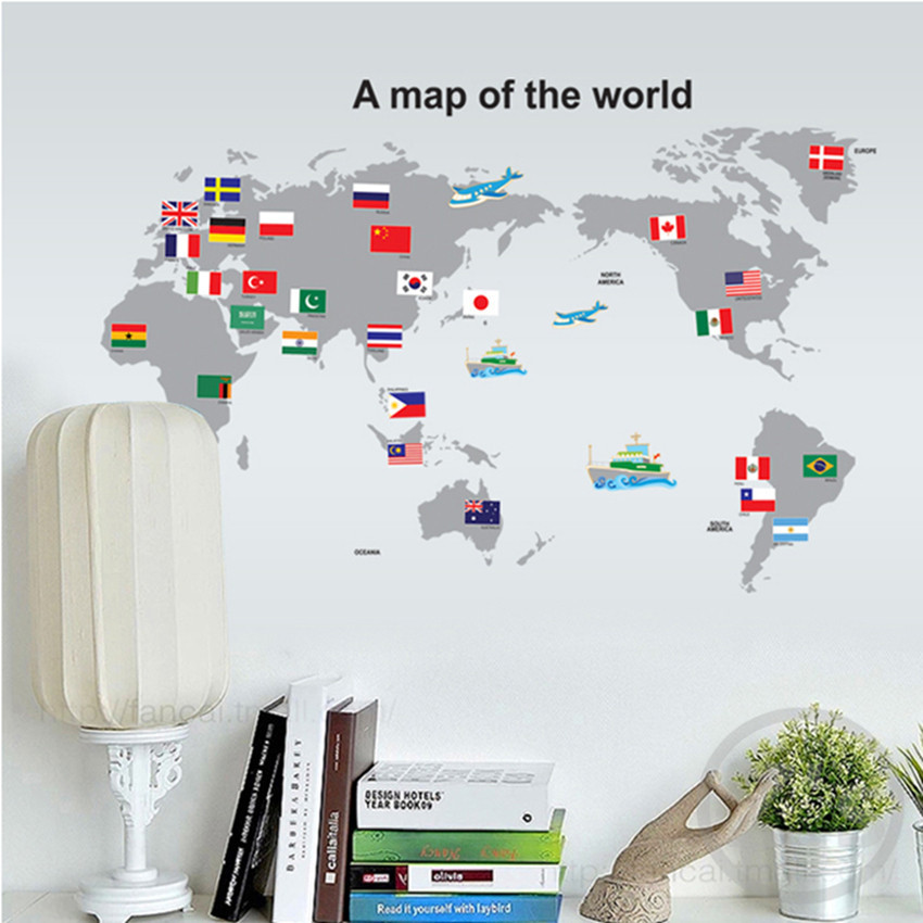 A map of the world wall stickers map banner home decor Topographic map adhesive for kids room ay7191(China (Mainland))