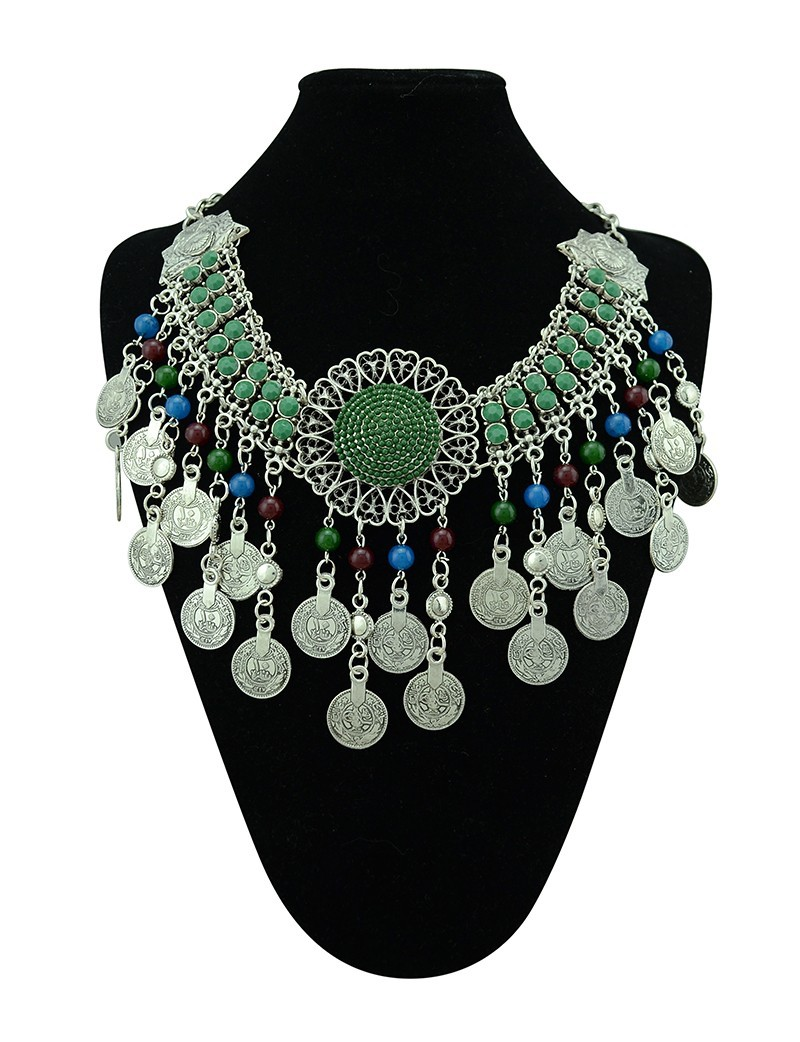 Bohemian tibetan silver big round flower necklaces&pendants multicolor coin beads tassel choker necklace turkish female jewelry