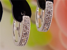 Free Shipping 1pair silver womens Clear Shining CZ Zircon Pretty hoop earrings(China (Mainland))