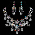 New Fashion Gorgeous Macrame Multicolour Crystal Bridal Jewelry Sets AB Rhinestone Wedding Jewelry Set for Bride