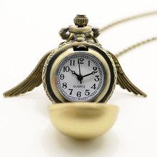 Moda mujer señora Golden Wing colgante Harry Potter Snitch dorada reloj de bolsillo antiguo de regalo chica mujeres reloj de cuarzo(China (Mainland))