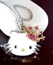 New Hellokitty Jewelry Cute Rhinestone Pendant Chain Big size Necklace yey-76(China (Mainland))