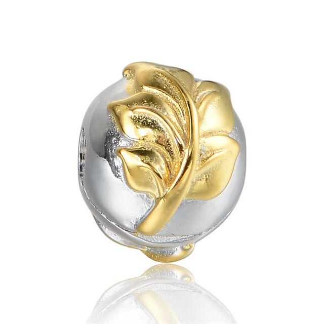 925 - серебристо-ювелирные бусины золотой лист на клип бусины Fit Chamilia пандора браслеты серебро 925 мода DIY