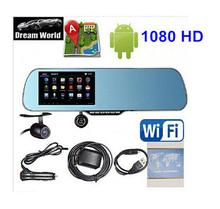 Новый 5.0 » сенсорный android-4.2 GPS WiFi FM FHD 1080 P в-dash камеры парковка автомобилей видеорегистраторы зеркало заднего вида видеорегистратор автомобильный видеорегистратор жк-двойной камерой GPS