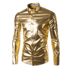 Mens Shiny Shirt Night Club Wear Slim Fit Fashion Long Sleeve Gold Shirt Outdoor Button Down Shirts for Men New 2016(China (Mainland))