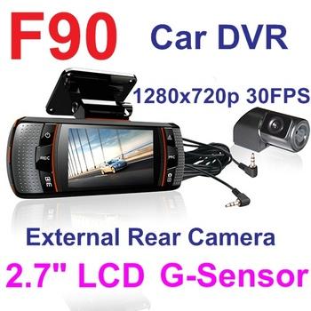 F90 H.264 Dual Lens Car DVR w/G-Sensor Real HD 720P 20FPS 2.7' LCD+HDMI+External IR Rear Camera+Allwinner CPU