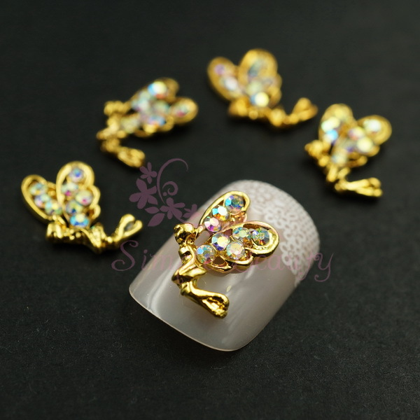 2 Golden Tone Alloy Fairy Angel AB Rhinestones 3D Metal Nail Art Crafts Jewelry Making DIY Design Decorations Accessory - Simple Beauty store