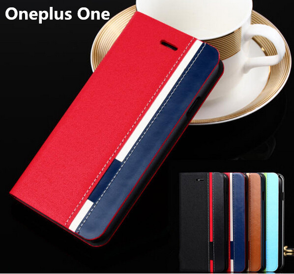 Business & Fashion Flip oneplus one Leather case for one plus one Case Mobile Phone Cover Mixed Color Stand with card slot(China (Mainland))