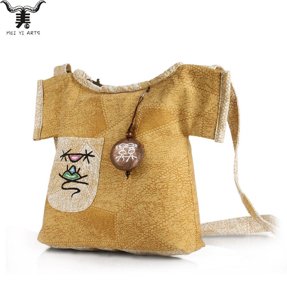 Meiyi B107 1 Women Girls Canvas Cute Stylish Bag Wooden Pendant Hand painted Crossbody Shoulder Bag