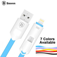 BASEUS Hybrid 2 in 1 USB Charge Sync Data Cable for iPhone 5 6 6 plus for Samsung Xiaomi Android Phone