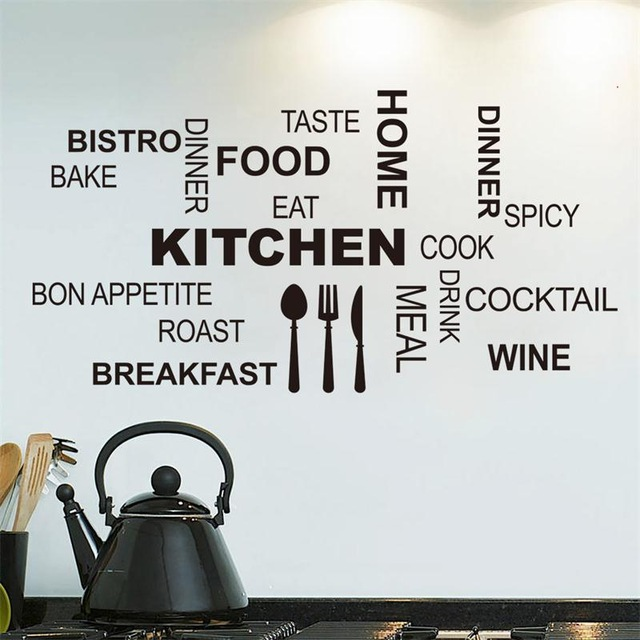 Free shipping Creative art kicthen wall stickers home decor Knife fork spoon cute vinyl wall sticker adesivo  parede decoration