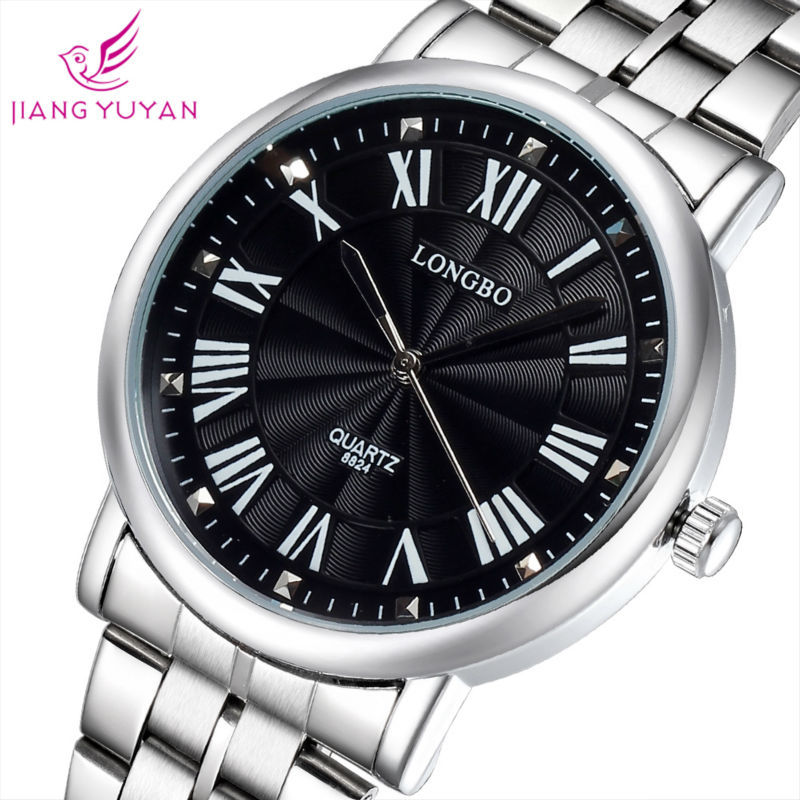 Fashion Mens Roman Numerals Alloy Case Stainless Steel strap Waterproof WristWatch Sport Casual Quartz Watch Dropshipping - casualsel store