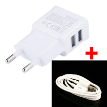 5V 2A EU Plug Dual Wall Charger Adapter + Micro USB Cable for Android Phone Tablet PC Travel USB Cable Charger Power 2 USB Ports(China (Mainland))