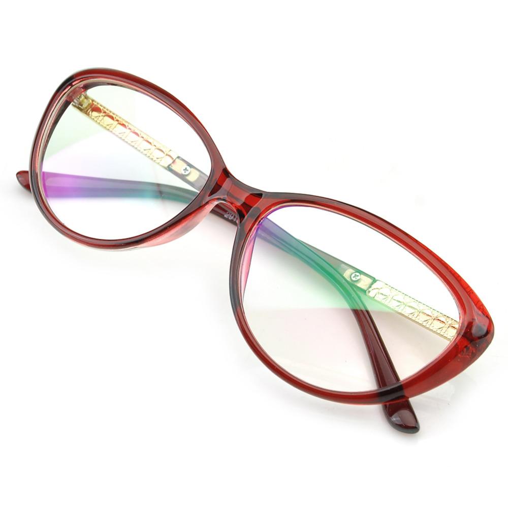 PenSee Womens Oval Cat Eye Retro Eyeglasses Frame Clear ...
