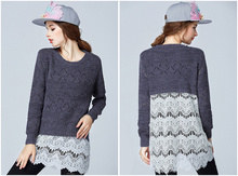 On sale 2015 fashion design plus size women lace pullover big size 4xl women autumn winter lace causal sweaters