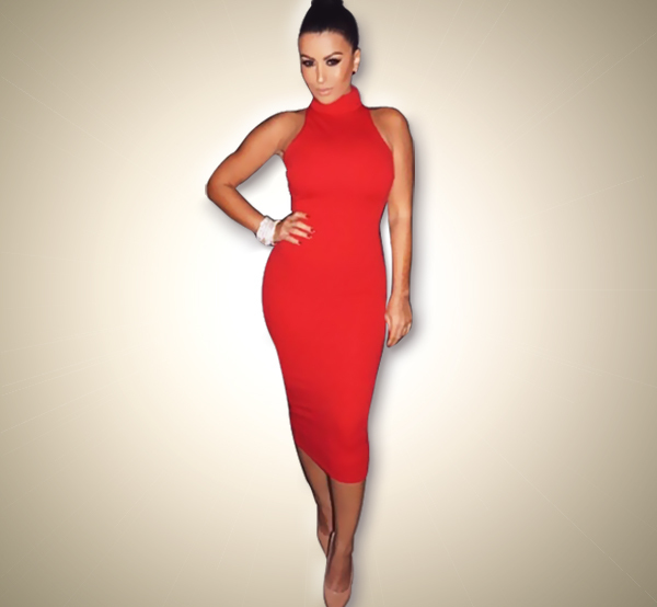 2015 New Fashion Women Summer Dress Sleeveless Sexy Bandage Dress Red Turtleneck Party Dress Casual Pencil Dresses Vestidos(China (Mainland))
