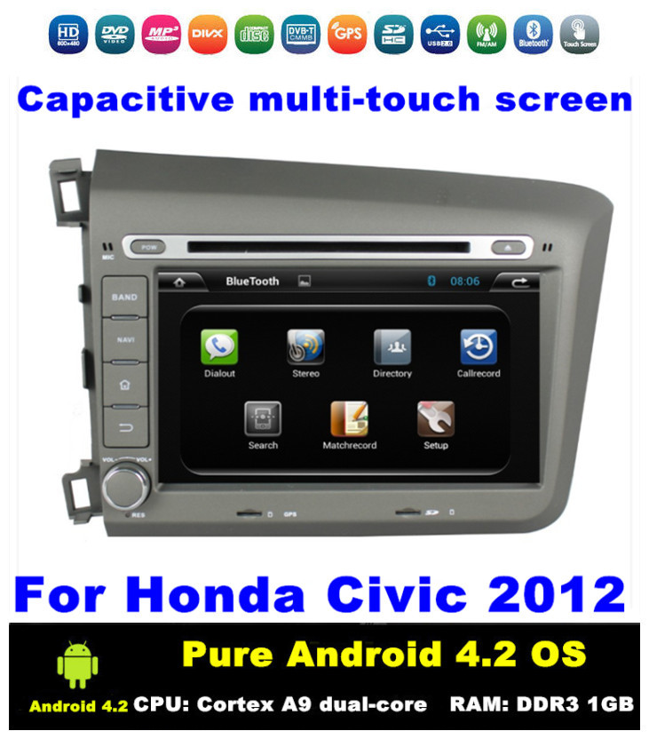 HD 2 din 8 inch Pure Android 4.2 Car DVD GPS for Honda Civic With GPS 3G/WIFI Bluetooth IPOD TV Radio /RDS 3D UI PIP AUX IN(China (Mainland))