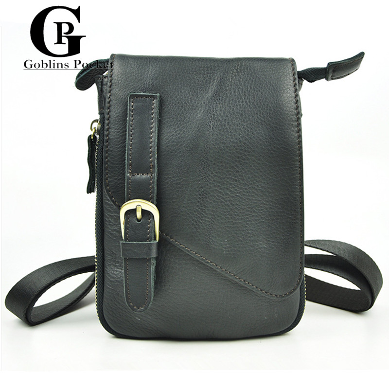 [Goblins Pocket] Men's Classic Black Messenger Bags High Quality Cowhide Leather Shoulder Small Crossbody Bags For Man Bags(China (Mainland))