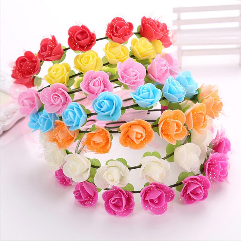 2 Pcs 2016 Cute Women Girl Children Summer Seaside Rose Flower Headwear Wedding Festival Garland Floral Hairband Accessories(China (Mainland))