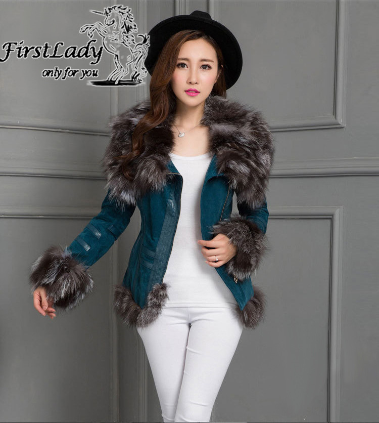 Real fox collars real leather jacket 6