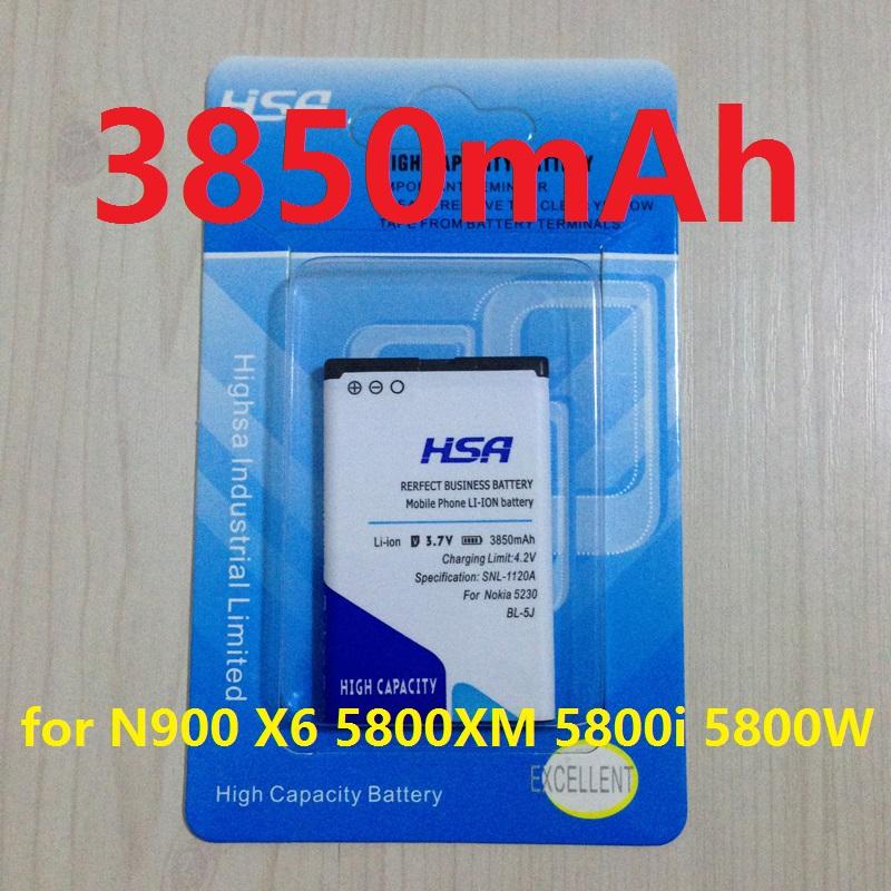 3850mAh BL-5J / BL 5J High Capacity Battery for Nokia N900,X6,5800XM,5800i,5800W,5230XM,5233,5232,5235,X6-00,C3-00,5802 ,X1-00