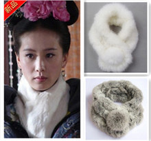 Leather cape hare wool scarf muffler scarf fur real fur rabbit fur scarf tube thickening(China (Mainland))